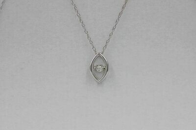 10kwg solitaire marquise shaped pendant w/ rbc diamond