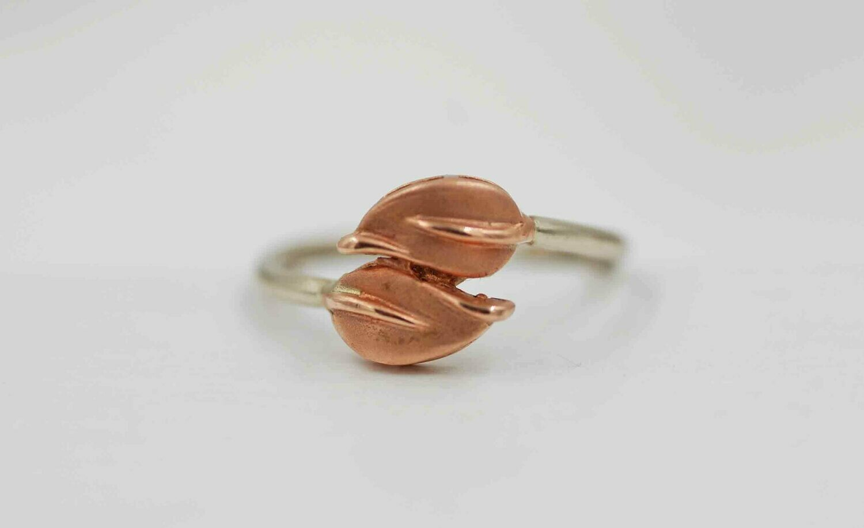 14k rose and white gold leaf ring
