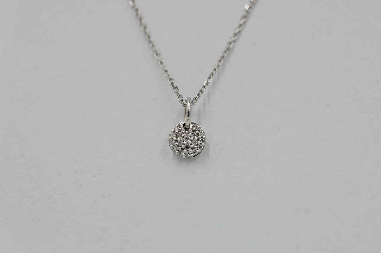 10k wg round pave diamond pendant