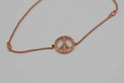 14k rose gold .14cttw peace bracelet