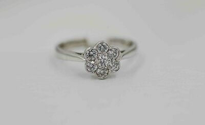 14kw 7 dia flower style ring .53cttw