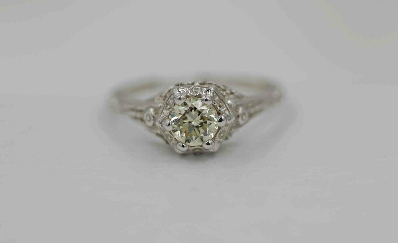 14kw 1920s vintage die struck w/.52 yellow diamond