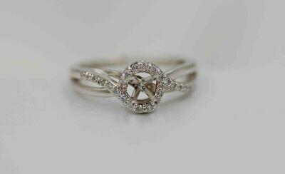 14kwg .30cttw  woven look/ open center diamond semi mtg