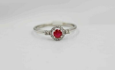 14k wg .30 ruby/.13 dia halo ring