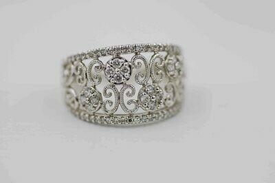 14kwg .45 cttw diamond band-scrolls & flowers