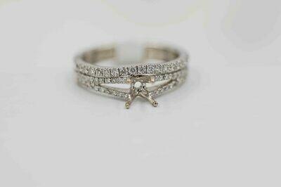 14k wg bridal set semi mounting 1/2cttw of diamonds - holds 1/3 carat center stone