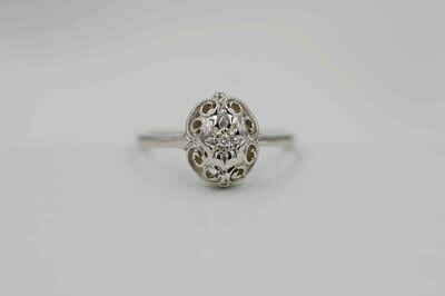 14kw Vintage Style Dia Ring