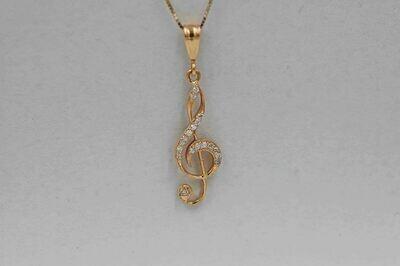 "14ky custom made .33 cttw diamond treble cleff pendant/18"""