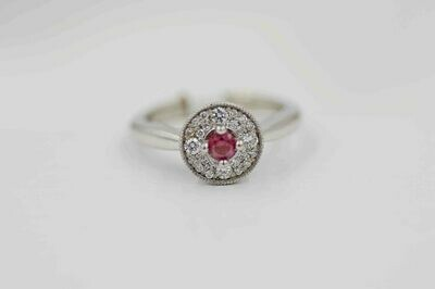 14kwg purple diamond center & white diamond halo ring