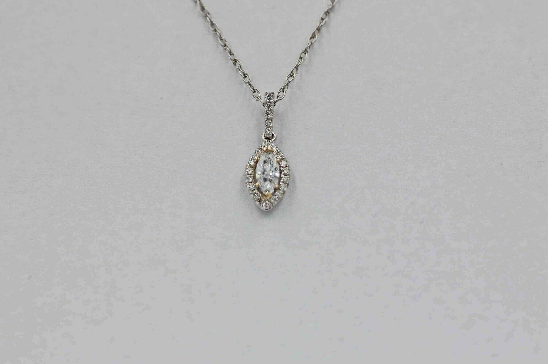 14k wg .25 ct. mq & rbc halo diamond pendant