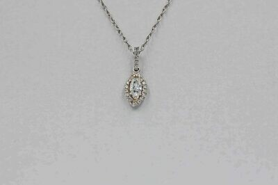 14k wg .25 ct. mq & rbc halo diamond pendant