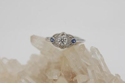 14kwg custom made ring w/ 1/3 ct diamond, Yogo sapphire & diamond accents