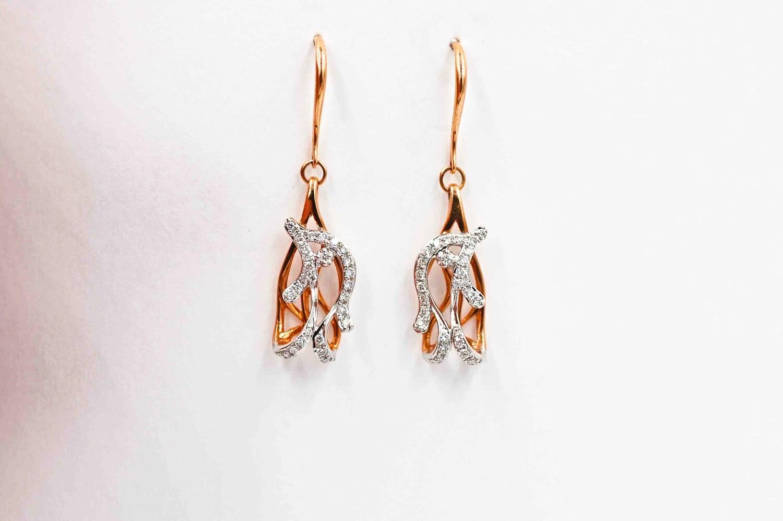 14ktwo-tone .26cttw diamond dangle earrings