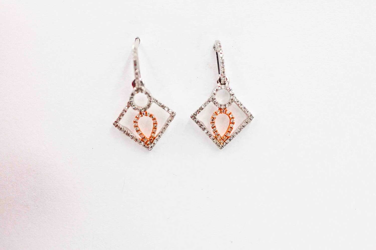 14k rose/wg .19cttw diamond drop earrings