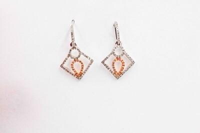 14k rose/wg .19cttw diamond drop earrings