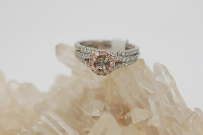 14k white & rose gold Halo style2 piece bridal semi. 0.62cttw