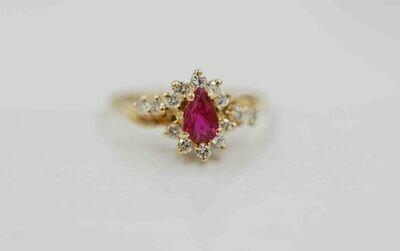 14k yg p/s natural ruby-.25cttw diamond ring