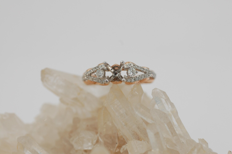 14kwg/rose gold vintage style .31cttw diamond semi mtg