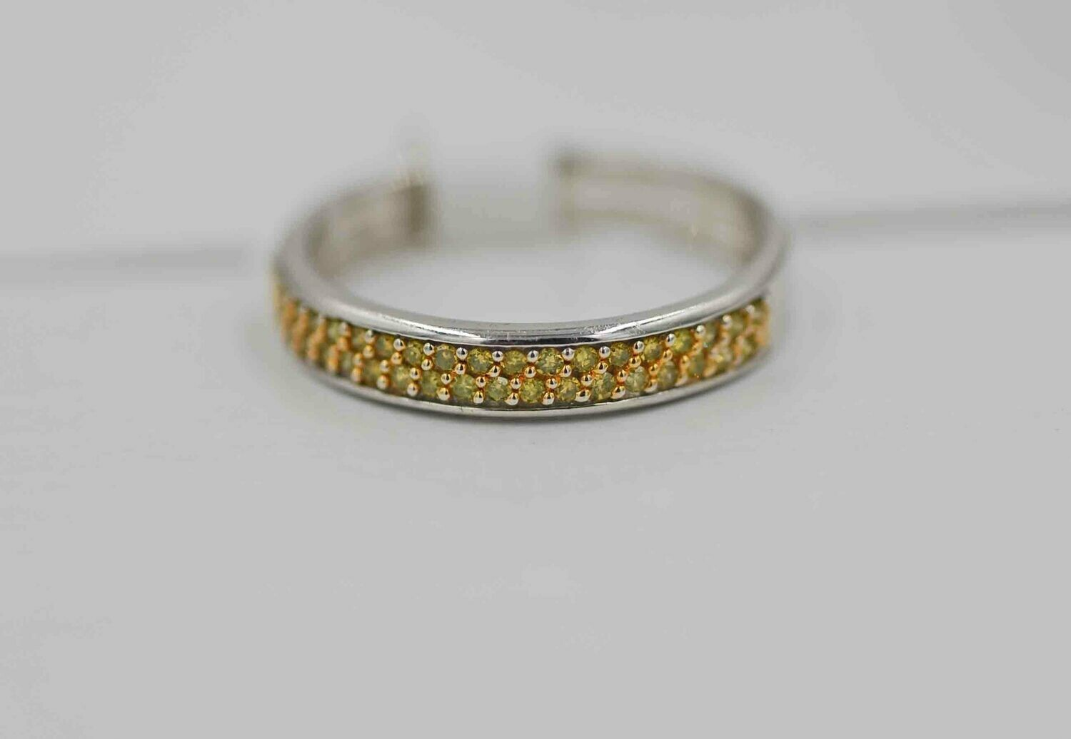 14wg band set w/ .16cttw yellow diamonds
