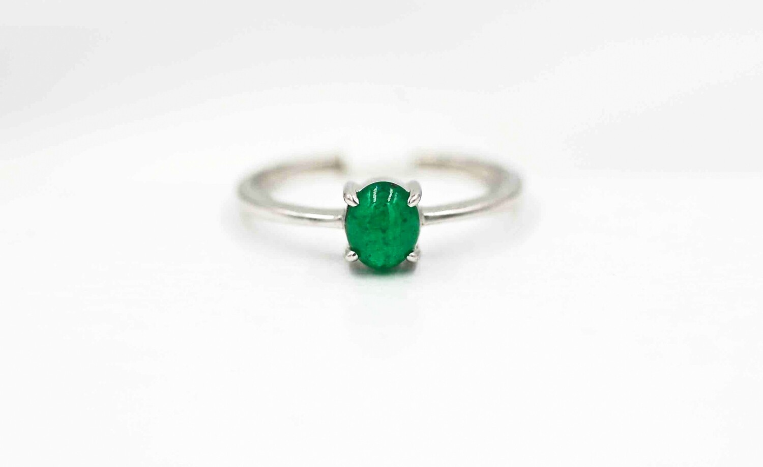 .73ct oval cabechon emerald solitaire ring .925
