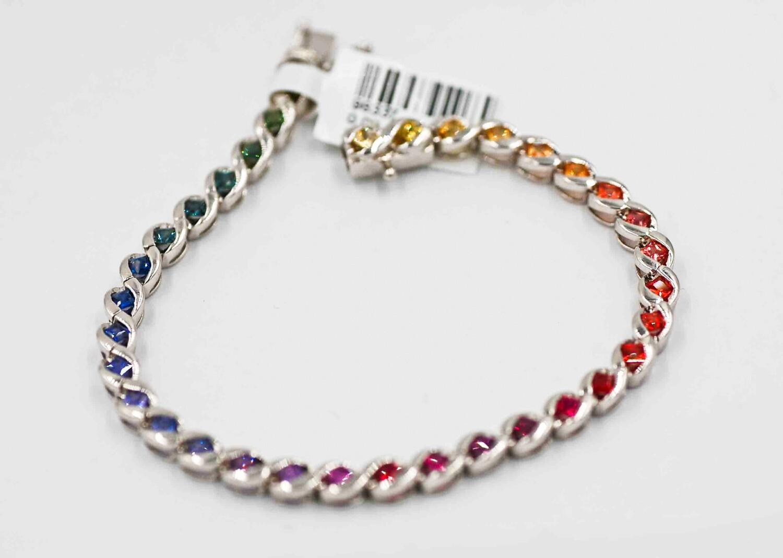 Bezel set princess cut rainbow sapphire bracelet .925