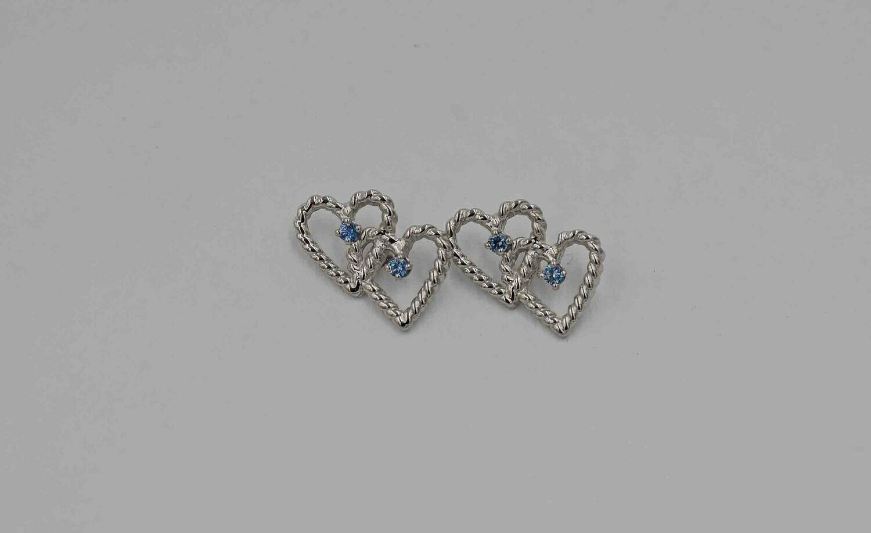.13cttw double heart earring w/ Yogo sapphires .925