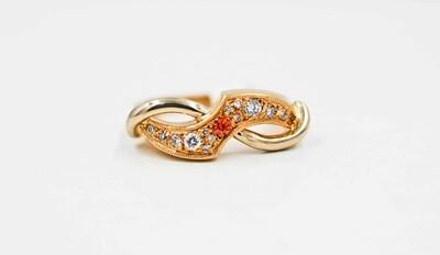 14k yellow & white ring w/ orange sapph/dias