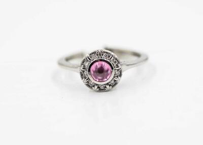 Pink Cab MT Sapphire Halo Ring