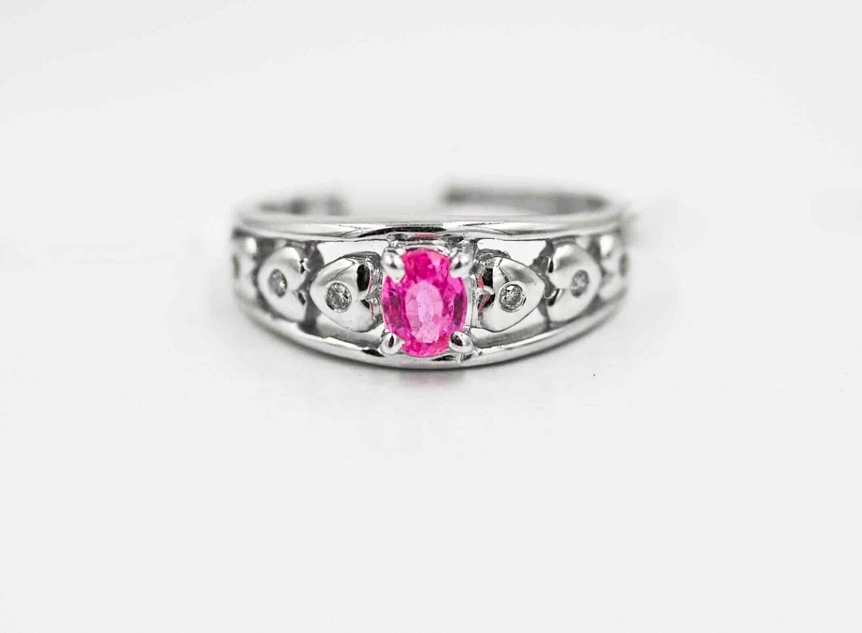 wg.48ct pink saph/dia ring