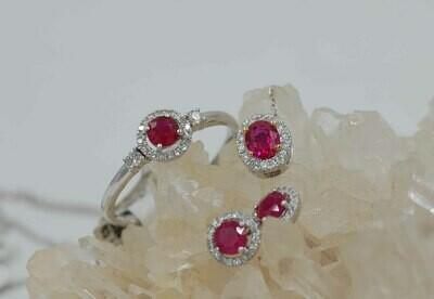 Ruby & diamond 3 piece set 14kwg