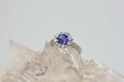 18k wg .75 ct tanzanite/.45cttw dia ring