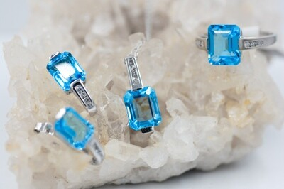 Blue topaz & diamond 3 piece set 10k wg
