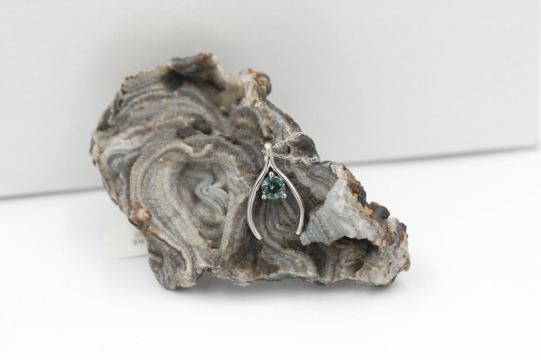 10k sapphire wishbone pendant