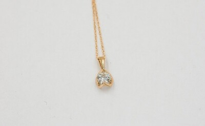 14ky half moon .50ct Round diamond pendant