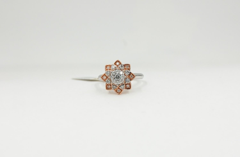 14k rose & white gold flower style diamond ring w/ .63cttw