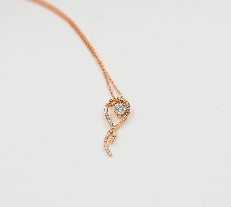 18k rose gold .33cttw diamond cluster ribbon pendant