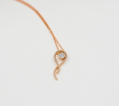 18k rose gold .33cttw diamond cluster ribbon pendant