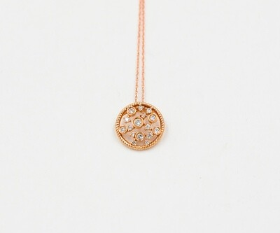 18k rose gold diamond circles w/in a circle pendant .25cttw