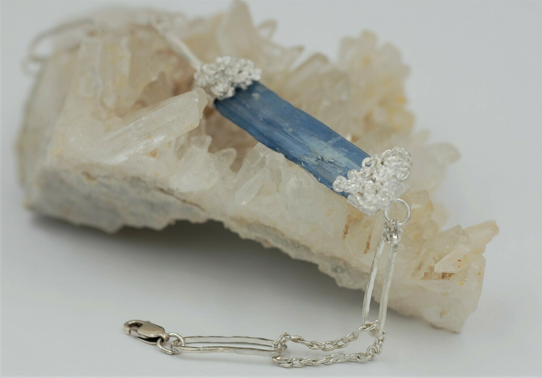 Designer Rough Kyanite link bracelet .925