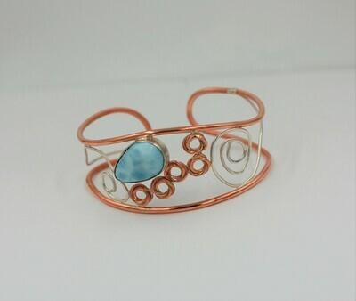 Copper/.925 cuff bracelet w/ Pear Shaped Larimar