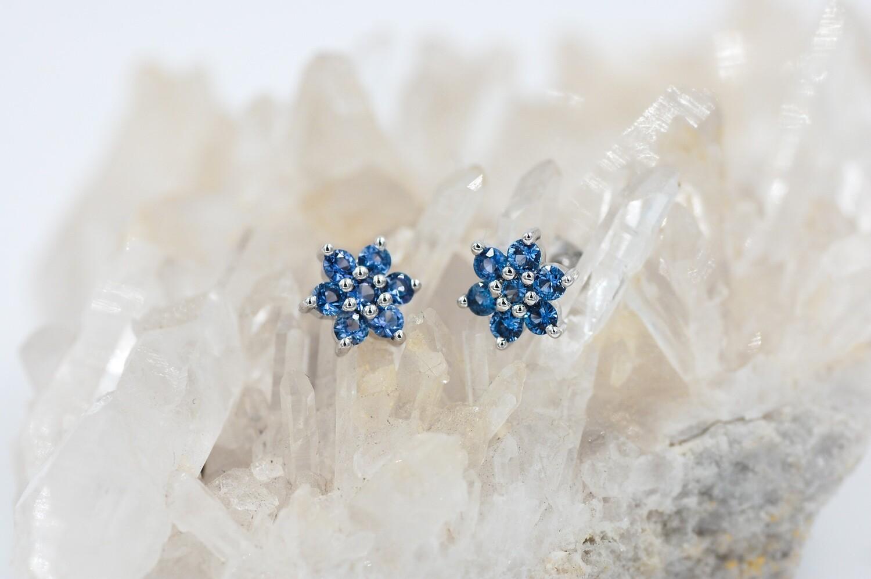 14k wg 1ct Yogo sapphire stud earrings - flower style