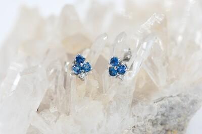 14k wg 1/2cttw Yogo sapphire/diamond stud earrings