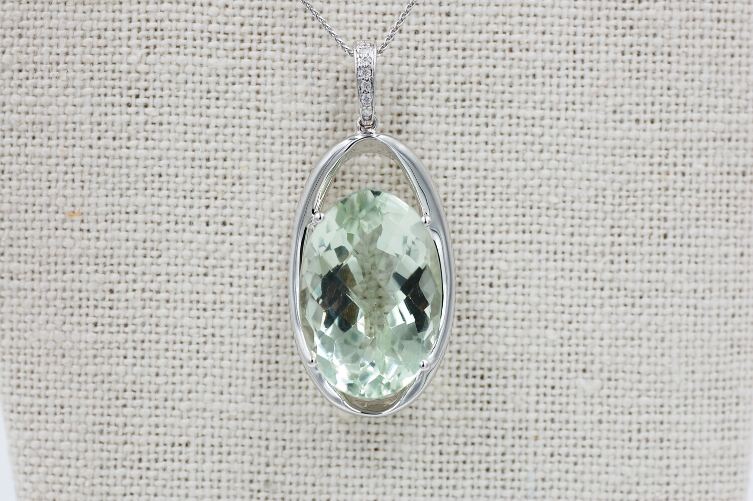 """14kw Oval 20.29ct Green Amethyst Pendant w/ diamond accents - 18"""" chain"""