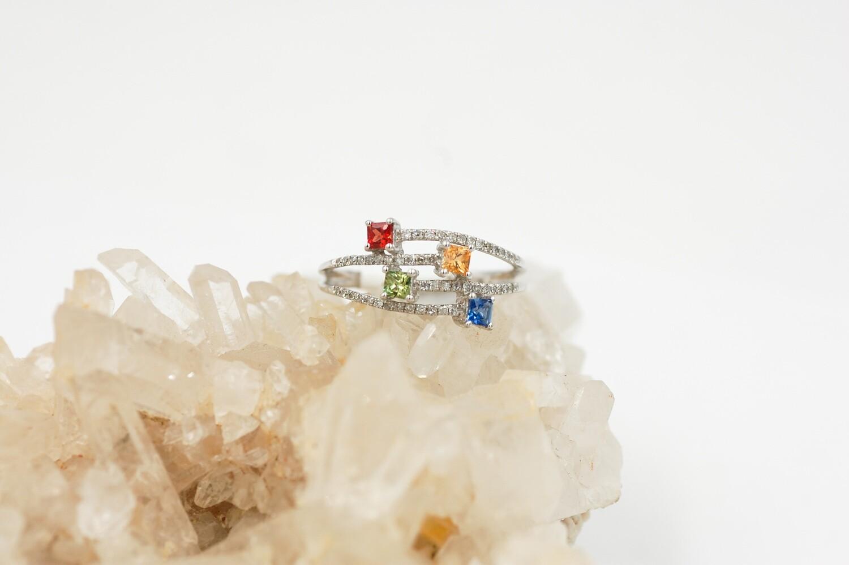 Rainbow sapphire/diamond ring - .49cts saph/.15cttw diamond .925