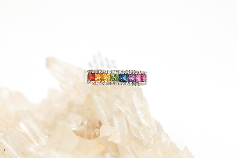Rainbow sapphire channel set band -..98cts Princess cut saph/.13cttw diam .925