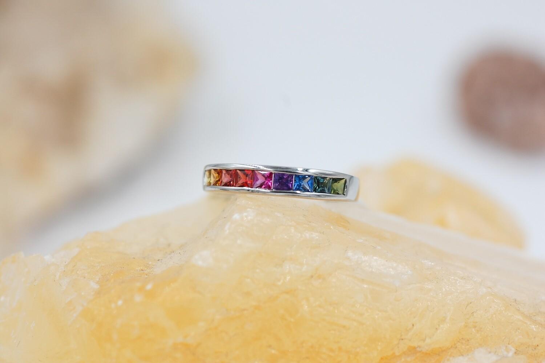 Rainbow sapphire channel set band -1.08 cts princess cut saph - .925