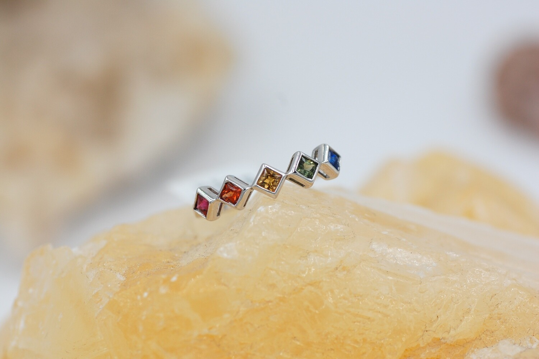 Rainbow sapphire band .58cts princess cut, bezel set saph .925