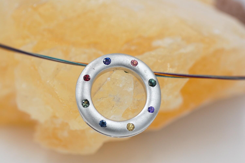 Rainbow sapphire circle pendant w/ .62cts saph -.925