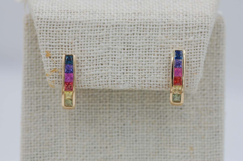Rainbow sapphire earrings - 1.48cts princess cut channel set 14ky