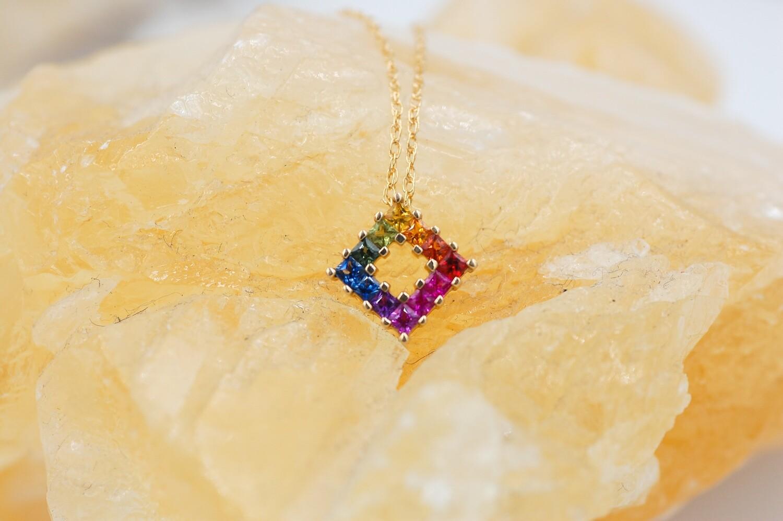 Rainbow sapphire pendant - .84cts, prong set princess cut- 14ky
